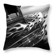 Blazing A Trail - Ford Model A 1929 In Black And White Throw Pillow