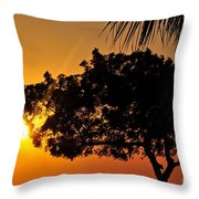 Blazing Red Sea Sunset Throw Pillow