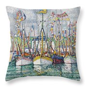 Blessing Of The Tuna Fleet At Groix Throw Pillow
