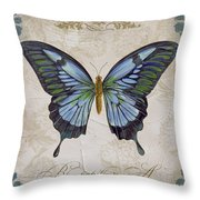 Bleu Papillon-a Throw Pillow