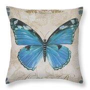 Bleu Papillon-b Throw Pillow