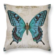 Bleu Papillon-c Throw Pillow