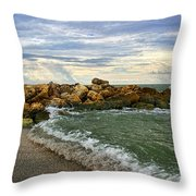 Blind Pass Storm Rocks - Captiva  Throw Pillow