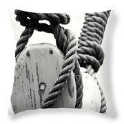 Block And Tackle Of Old Sailing Ship Throw Pillow