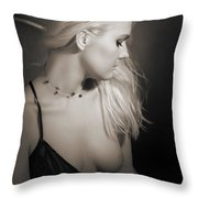Blond Girl With Naked Breast 1287.01 Throw Pillow