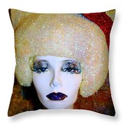 Blonde Fro Throw Pillow