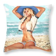 Blonde On The Beach With Opened Shirt Throw Pillow