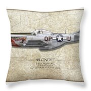 Blondie P-51d Mustang - Map Background Throw Pillow