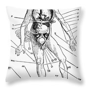 Bloodletting Chart, 1517 Throw Pillow