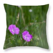 Bloody Cranesbill Wild Flowers Throw Pillow