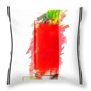 Bloody Mary Cocktail Marker Sketch Throw Pillow