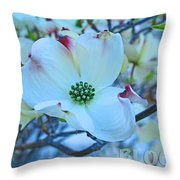Bloom White Dogwood Throw Pillow