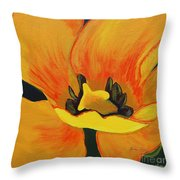 Bloomed Yellow Tulip Throw Pillow