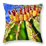 Blooming Barrel Cactus By Diana Sainz Throw Pillow