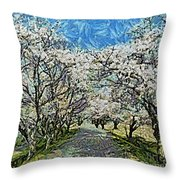 Blooming Cherry Tree Avenue Throw Pillow