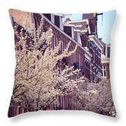 Blooming Decoration Of The Streets. Pink Spring In Amsterdam Throw Pillow