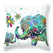Blooming Elephants Throw Pillow