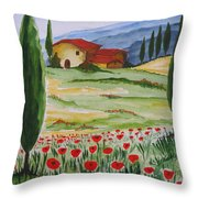 Blooming Poppy In Tuscany Throw Pillow
