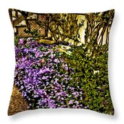 Blooms Beside The Steps Throw Pillow