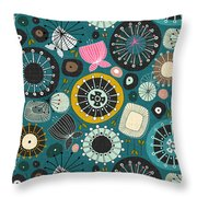 Blooms Teal Throw Pillow