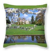 Blossom-framed House Throw Pillow
