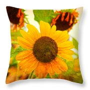 Blossoming Sunflower Beauty Throw Pillow