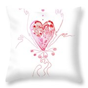 Blossoming Love Pink And Red Valentine Throw Pillow