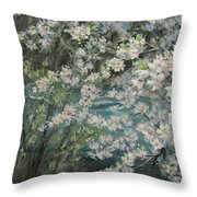 Blossoming River Throw Pillow