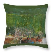 Blossoming Tree In The Garden Throw Pillow