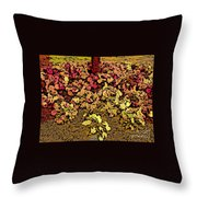 Blossoms And Tree In Yellow And Red Throw Pillow