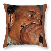 Blowin His Blues Harp Throw Pillow