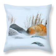 Blowing Snow And Rocks Throw Pillow