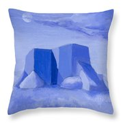 Blue Adobe Throw Pillow