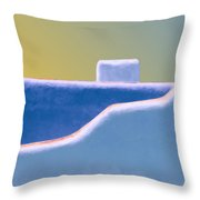 Blue Adobe Rooftop  Throw Pillow