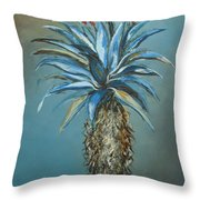 Blue Aloe With Red Flowers Throw Pillow