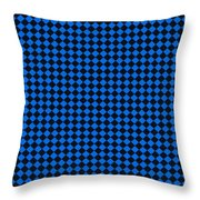 Blue And Black Checkered Pattern Cloth Background Throw Pillow
