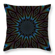Blue And Brown Floral Abstract Throw Pillow