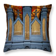 Blue And Gold Music Throw Pillow