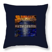 Blue And Gold Stained Abstract Throw Pillow