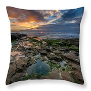 Blue And Gold Tidepools Throw Pillow