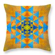 Blue And Gold Yantra Meditation Mandala Throw Pillow