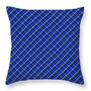 Blue And Green Diagonal Plaid Pattern Cloth Background Throw Pillow