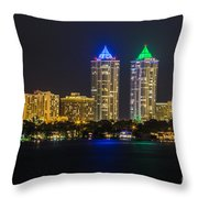 Blue And Green Diamond Twin Towers Throw Pillow