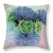 Blue And Green Flowers Throw Pillow