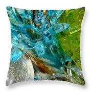 Blue And Green Glass Abstract Throw Pillow