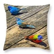 Blue And Indigo Buntings - Three Little Buntings Throw Pillow