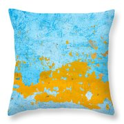 Blue And Orange Wall Texture Throw Pillow