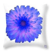 Blue And Pink Dahlia Throw Pillow