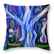 Blue And Purple Girl With Tree And Owl Throw Pillow