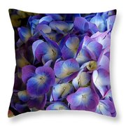 Blue And Purple Hydrangeas Throw Pillow